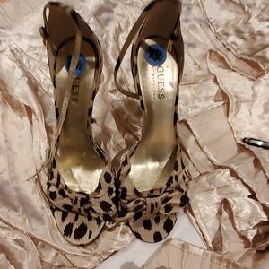 Leopard Open Toe Shoe with ankle tie